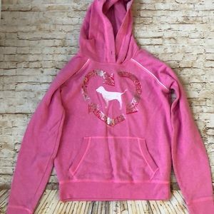 PINK Sz Medium hooded sweatshirt